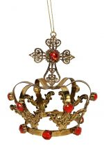 Gold Crown Decoration with Red Jewels