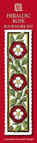 Heraldic Rose Cross Stitch Bookmark Kit