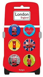 Red Bus Set of Six Badges