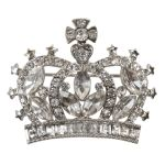 Large Crystal Crown Brooch