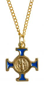Blue St Christopher Cross Necklace