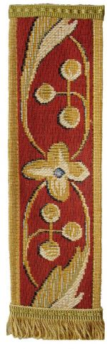 Red Acanthus Tapestry Bookmark