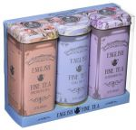 Floral Design Triple Tea Tin Set