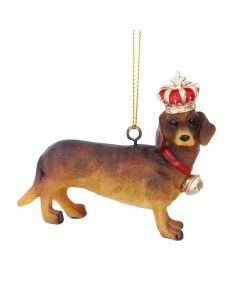 Dachshund with Crown Christmas Decoration