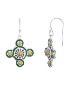 Silver and Enamel Cosmati Pavement Earrings