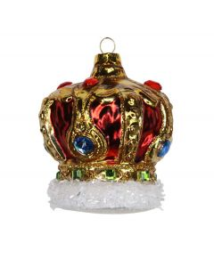 Red Glass Crown with Jewels Decoration
