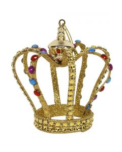 Gold Glitter Crown with Coloured Jewels