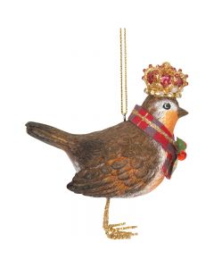 Robin with Crown Christmas Decoration