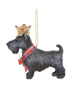 Scottie Dog with Crown Christmas Decoration