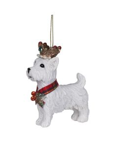 West Highland Terrier with Crown Christmas Decoration