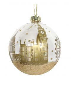 White & Gold London Skyline Bauble