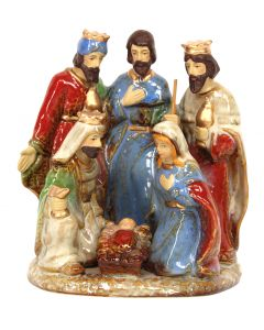 Ceramic Nativity Painted Large