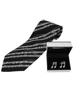 Black Silk Music Tie & Semi Quaver Cufflinks Set