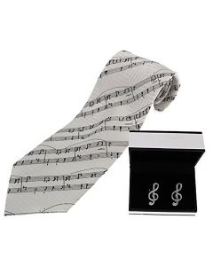 White Silk Music Tie & Treble Clef Cufflinks Set