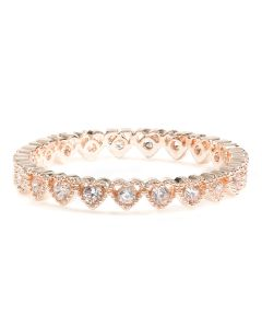 Rose Gold Plated Brass Ring with Cubic Zirconia