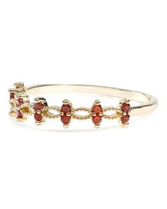 Gold Plated Brass Ring with Red Cubic Zirconia