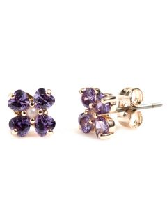 Medieval Quatrefoil Purple Crystal Earrings