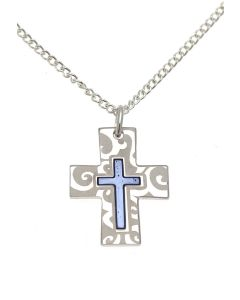 Patterned Cross with Blue Centre Necklace