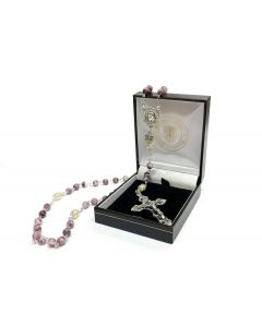 Amethyst Marble Glass Bead Rosary