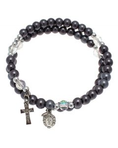 Black Pearl Bracelet with Hanging Cross