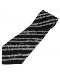 White and Black Music Manuscript Silk Tie