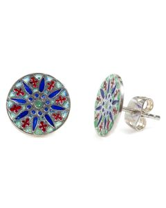 Blue and Red Enamel Earrings