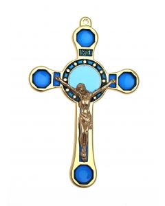 Blue Stained Glass Hanging Cross
