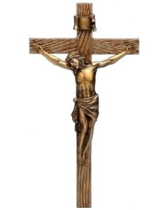 Antique Bronze and Wood Finish Crucifix