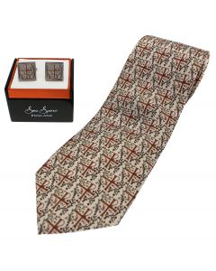 Byzantine Cross Silk Tie & Cufflinks Set