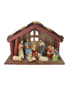 Ceramic Nativity Set with Stable