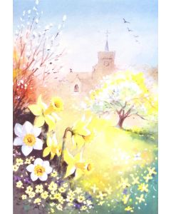Church and Daffodils Easter Card