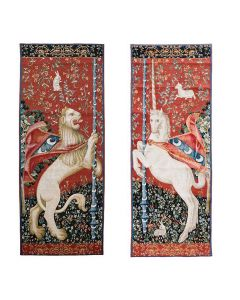 Cluny Lion and Unicorn Tapestry Wall Hanging Set