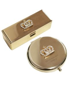 Westminster Abbey Crystal Crown Compact and Lipstick Holder Set