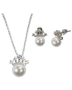 Crown Faux Pearl Necklace and Earrings Set