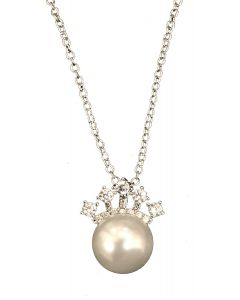 Crown Pendant Pearl Necklace
