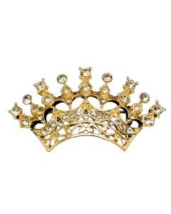 Gold Crystal Crown Brooch