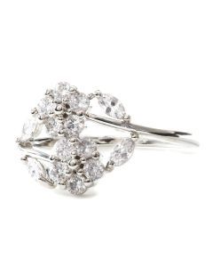 Double Flower Silver Tone Ring with Cubic Zirconia