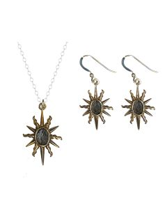 Elizabeth I Sunburst Necklace and Earrings Set