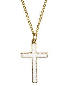 White and Gold Cross Necklace