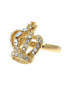 Gold Colour Crystal Crown Ring