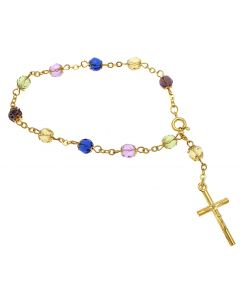 Gold Multicoloured Bead Rosary Bracelet