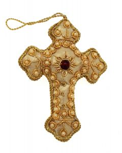 Gold Pearl Cross Decoration