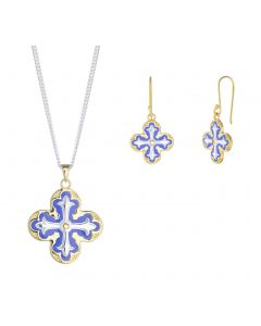 Lantern Cross Necklace and Earrings Set