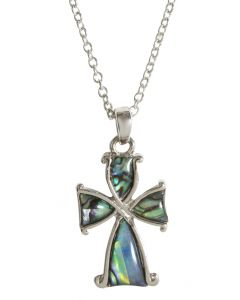 Mother of Pearl Green Cross Necklace