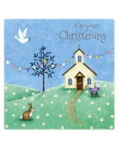 Church and Bunting Christening Greetings Card