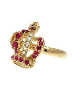 Gold Colour White and Pink Crystal Crown Ring
