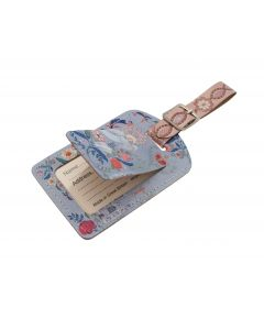 Floral Abbey Leather Luggage Tag