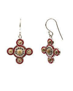 Red Silver and Enamel Cosmati Pavement Earrings
