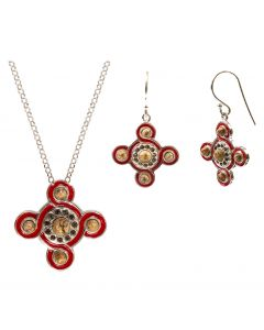 Silver and Enamel Red Cosmati Necklace and Earrings Set