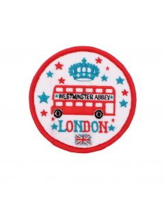 London Icons Bus Iron On Embroidered Patch